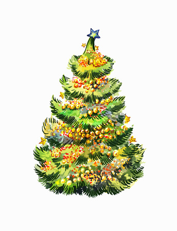 New year fir-tree hand-drawn on white background. Christmas tree illustration