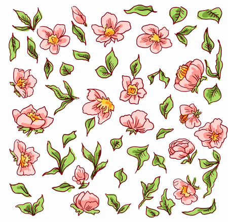Pink little flowers, suitable for stickers or pattern for wallpaper or kraft or wrapping paper
