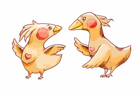 Two yellow cartoon birds in love. Hand-drawn illustration for romantic greeting card or design