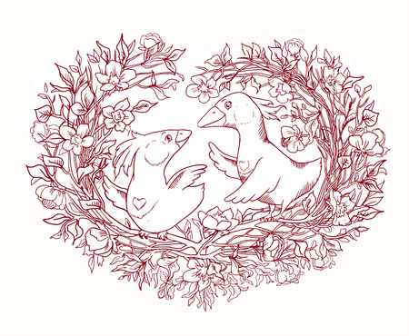 Coloring page for Valentines Day. Beautiful illustration with a pair of birds curling the nest. Flower arrangement with sakura branches in the shape of a heart