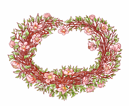 Branches of sakura or a flowering peach tree in the shape of a heart. Decorative hand drawn heart for design postcard, congratulation on Valentine's Day. Colored vintage frame