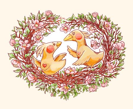 Valentines day decorative vintage congratulation. Cute cartoon couple of birds. Dating, romantic illustration