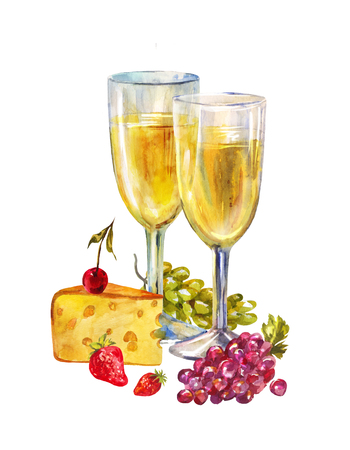 Simple watercolor illustration with glasses full of champagne or white wine and fruits. Traditional snack to light booze. Evening for two on Valentine's Day