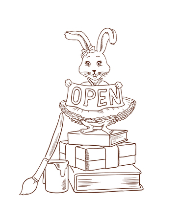 Bunny, cute rabbit in dress standing on books with gold ribbon with space for text