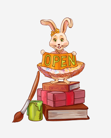Cute vector character (little bunny) standing on books and gift with gold nameplate open  イラスト・ベクター素材