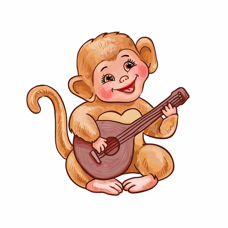 Cartoon monkey plays guitar or ukulele songs. Trained pet, vector isolated illustration suitable for design childrens goods, sticker, invitation or print on clothes  イラスト・ベクター素材