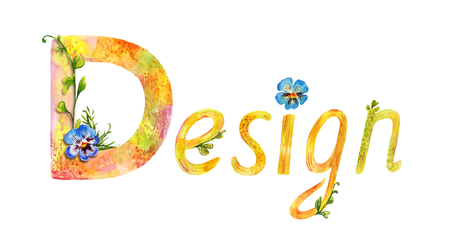 Painted watercolor word design. Summer decorative lettering isolated on white