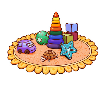 Cute bright illustration with many toys on round rug. Vector drawing suitable for kids magazine or coloring page