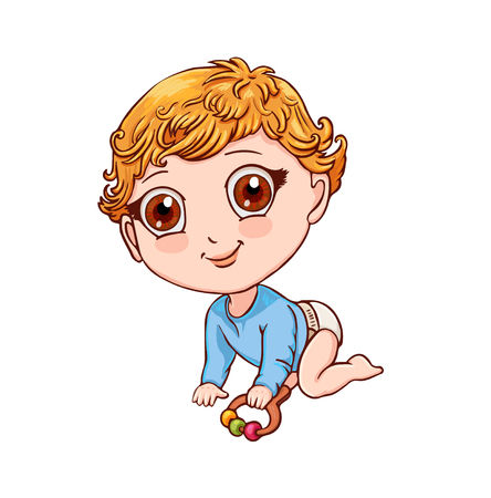 Little child with rattle crawls on all fours. Cute vector illustration  イラスト・ベクター素材