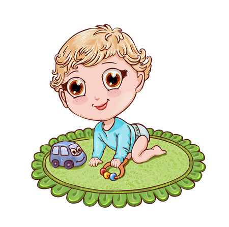 Cute chibi boy crawls and plays with a rattle on the green round rug for the childrens room. Vector character in anime style suitable for childrens magazine or coloring book