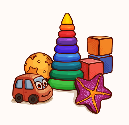 Illustration with toys for a small child up to a year or two. Vector drawing suitable for desk magazine, coloring or book  イラスト・ベクター素材