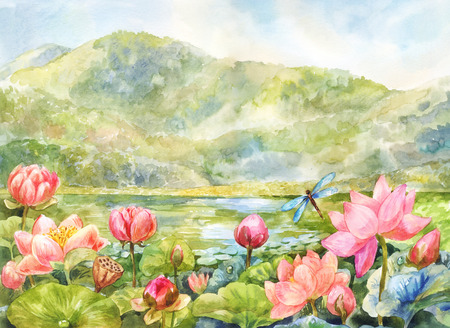 Lotuses in the valley. Watercolor mountain landscape suitable for postcard, background or wallpaper 写真素材