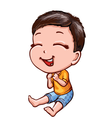 Cartoon asian boy with dark hair and fair skin. Cheerful laughing child in bright clothes. Character, isolated on white