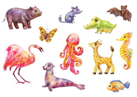 Cute cartoon animals. Watercolor set of funny illustrations 写真素材