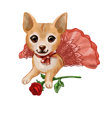 Cartoon hand-drawn vector picture with small puppy, suitable for print on childrens goods or decoration of invitation on pet show or dogs birthday