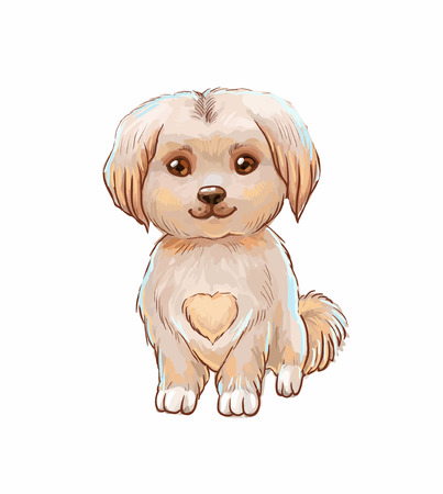 Little dog. Vector illstration with cute puppy