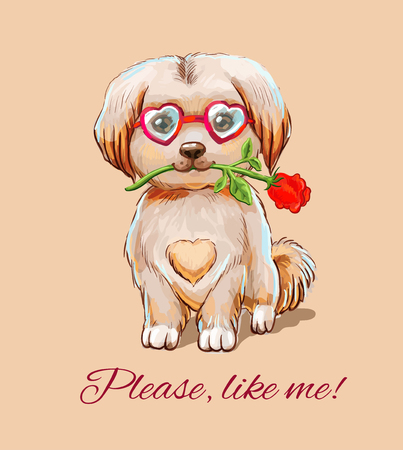Little fluffy puppy in glasses sits with rose. Cute illustration with appeal Please, like me!  イラスト・ベクター素材