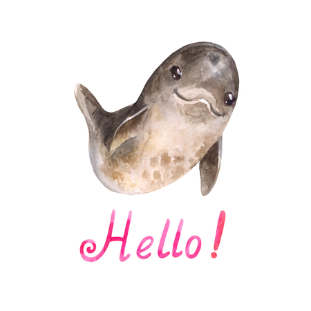 Funny dolphing welcomes you. Watercolor cartoon character suitable for kids card or sticker on kindergarten locker. Say hello Banco de Imagens