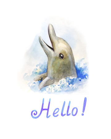 Dolphin looks out of the water and dances. Watercolor character, kids illustration 写真素材
