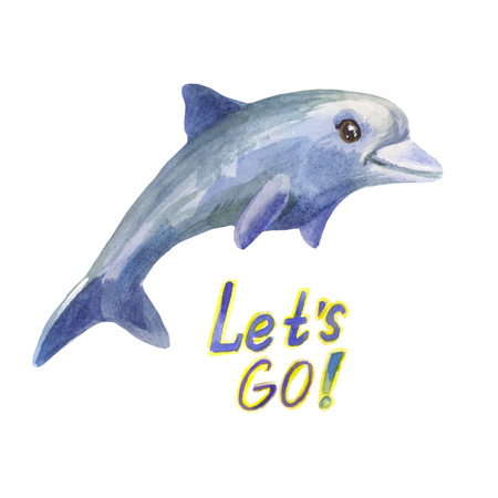 Blue dolphin says lets go! Watercolor cute character in cartoon style