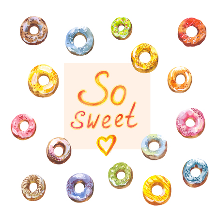 Bright watercolor donuts. Collection of sweet pictures 写真素材
