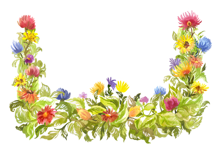 Bright watercolor frame, decorative summer element. Blooming daisies with lush foliage. Hand-drawn illustration on white 写真素材