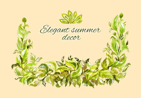 Thick lush green frame of foliage. Lots of intertwined green leaves. Corner watercolor element. Elegant elegant composition. Summer or spring design with space for text 写真素材