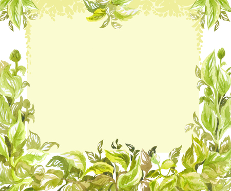 Green watercolor background with lush foliage frame. Spring or summer decorative element