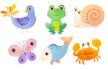 Little animals in watercolor cartoon style. Cute crab, funny frog, blue fish, bright  butterfly, snail and decorative pigeon. 写真素材