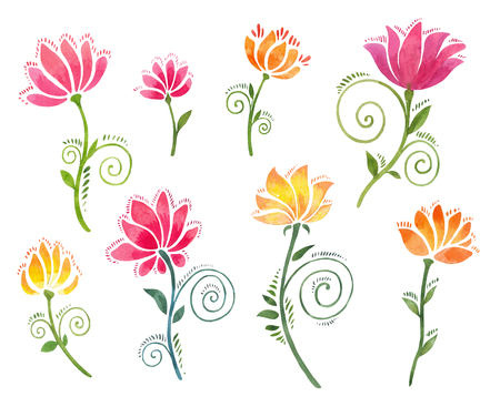 Set of watercolor floral twiddles. Beautiful decorative flowers look like poppies