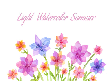 Light watercolor flowers. Bouquet or floral composition for writing a letter, the bottom of the site, footer or simple greeting