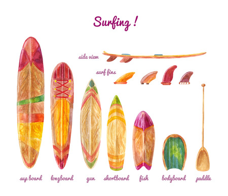 Types of boards of different lengths for surfing.
