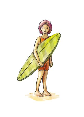 Pretty woman surfer with surfboard in a sporting suit standing on the beach and smiling.