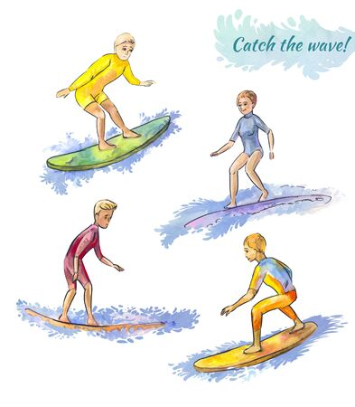 Young and elderly surfers. Surfing on the coastal waves.