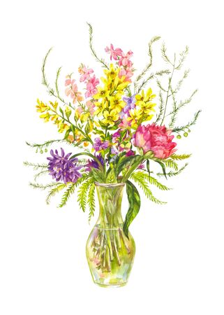 Bright bouquet of wild flowers in a glass vase. Watercolor illustration