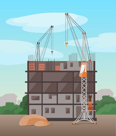 Urban architecture. Process of building  multistory building. Vector flat illustration. Industrial view.