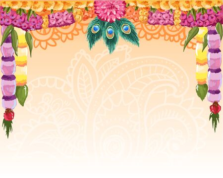 Design of indian holiday backgrounds template.  Happy Janmashtham hindu festival wallpaper. Vector illustration with floral ornate garland Çizim