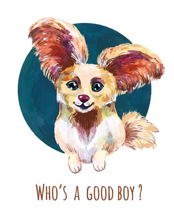 Cute little puppy papillon. Watercolor avatar, funny print for t-shirt, sticker or illustration for dog food packaging
