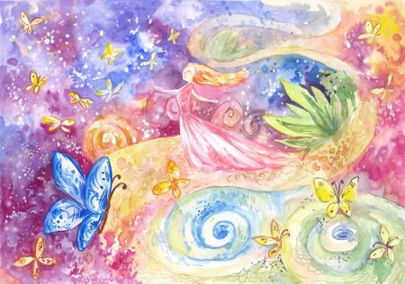 Fantastic watercolor illustration with  space, butterflies, young woman.  Concept of dream, self-development, happiness, feminine destiny Banco de Imagens