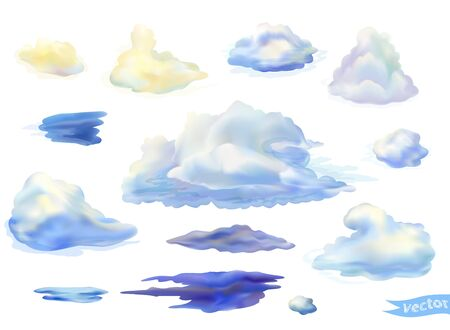 Vector cumulus clouds isolated on white. Thunderclouds in watercolor style