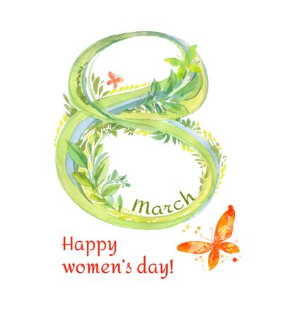 Happy Womens Day. Watercolor illustration with hand-drawn elegant number eight and butterflies