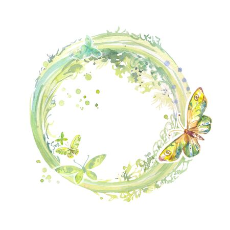 Watercolor abstract circular element with leaves and butterflies. Spring round frame