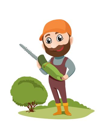 Simple character, male gardener with electric scissors in his hands isolated on white. Vector illustration
