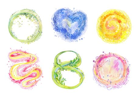 Watercolor splashes, spots, hand-drawn elements in sketch style. Abstract  shapes, suitable for different decorative compositions, postcards, prints