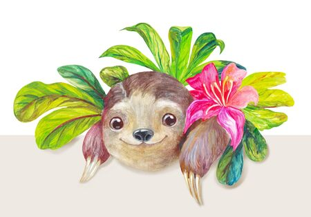 Watercolor cute tropical illustration with sloth, pink exotic flower and leaves. Jungle drawing with enpty place for text below. Sticker, logo or jungle decorative illustration concept