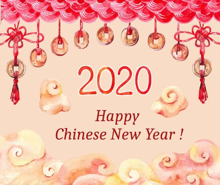 Chinese watercolor new year template. Oriental clouds, red traditional knots and coins Archivio Fotografico