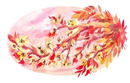 Blossom sakura branch. Pink japanese oval template. Spring illustration Stok Fotoğraf