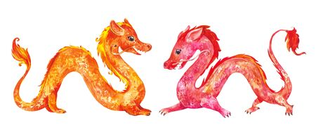 Chinese new year dragons. Watercolor gorisontal composition suitable for oriental new year design Archivio Fotografico