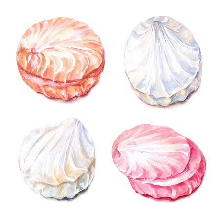 Set of twisted cream zefir. Watercolor Russan marshmallows isolated