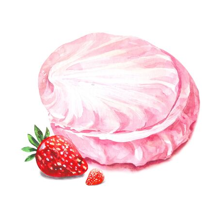 Strawberry  marshmallow, watercolor pink zefir isolated Archivio Fotografico